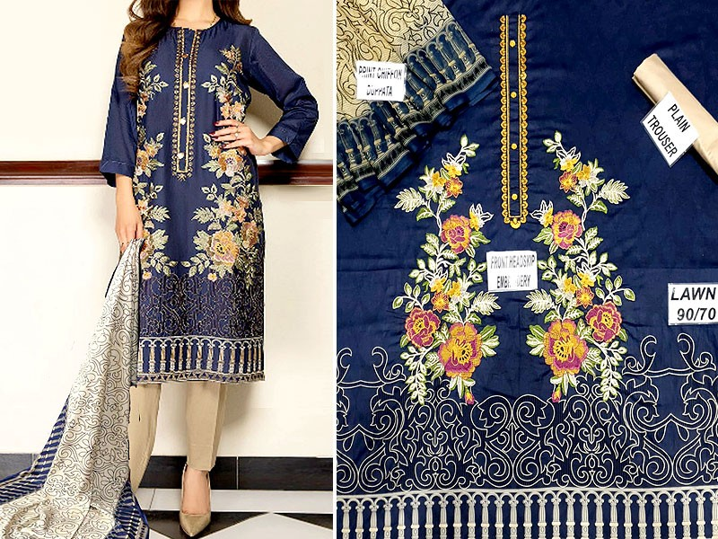 Heavy Full Front Embroidered Lawn Suit